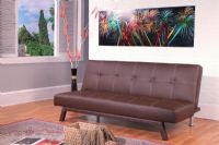 Ella Futon Sofa Bed in Brown or Black Faux Leather